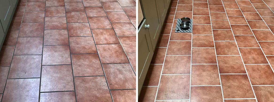 Grout Colour Restoration on a Ceramic Kitchen Floor Ulverston
