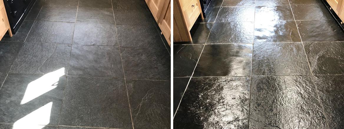 Renovating Dull Semi Riven Black Slate Flooring in Bentham