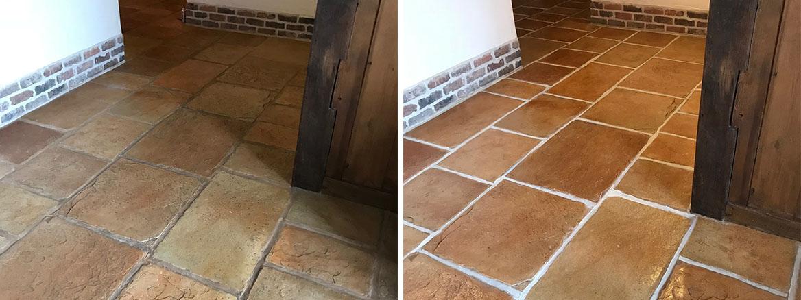 Sandstone Effect Concrete Hallway Floor Deep Cleaned in Garstang