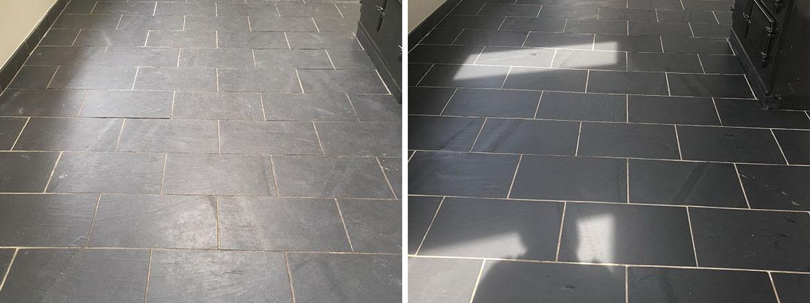 Dull Riven Black Slate Floor Transfored in High Bentham